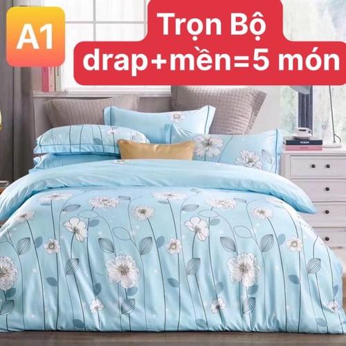Bộ drap mền tencel 5 món vải nhập hàn quốc đỉnh cao mát , mềm mại / drap/ mền  và 3 áo gối/ - tencen