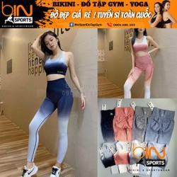 Set Đồ Tập Gym Nữ Dệt Kim Quần Chun Mông Loang Màu Naqi Cao Cấp Bin Sports Bd080