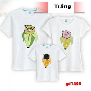 áo thun gia đình 4 người in hình hoạt hình dễ thương - áo cặp gia đình 4 người thumbnail
