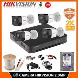 Trọn Bộ camera giám sát HIKVISION chính hãng 5.0MP CÓ MICRO - KÈM HDD 500GB  đủ phụ kiện lắp đặt - Bảo hành 24 THÁNG [ĐƯỢC KIỂM HÀNG] [ĐƯỢC KIỂM HÀNG]