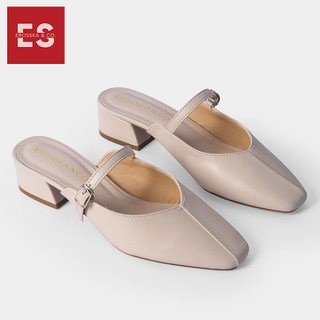Giày cao gót Erosska thời trang mũi vuông phối dây quai mảnh kiểu dáng thanh lịch cao 4cm màu nude EL017 - EL017NU thumbnail