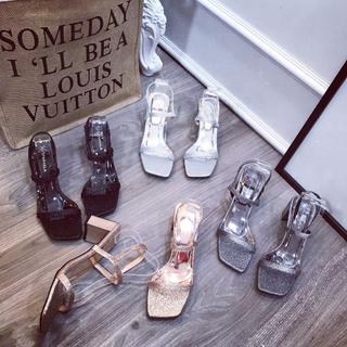 Giày sandal nhũ gót vuông dây mảnh xinh xắn - sh2688 5