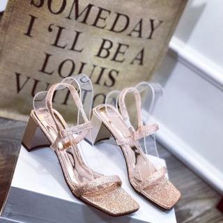 Giày sandal nhũ gót vuông dây mảnh xinh xắn - sh2688 2