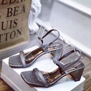 Giày sandal nhũ gót vuông dây mảnh xinh xắn - sh2688 4