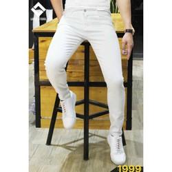 Quần jean nam trắng trơn ống suông cao cấp bảo hành 6 tháng