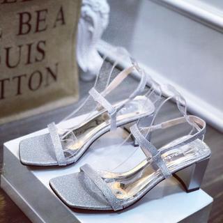 Giày sandal nhũ gót vuông dây mảnh xinh xắn - sh2688 3