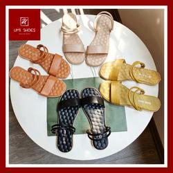 Giày sandal quai ngang lót đệm mát xa đế bệt kiểu dáng basic màu đen/nâu/vàng/be nhẹ nhàng đơn giản nữ tính mới