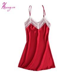 Váy Ngủ 2 Dây Nữ Ren Xẻ Liền Thân Chất Lụa Satin Cao Cấp Đủ Size Dưới 75Kg