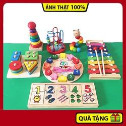 Combo đồ chơi thông minh 7 món bằng gỗ cho bé