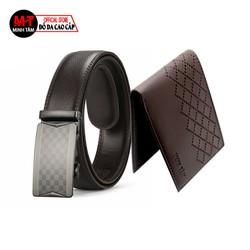 Thắt lưng nam Minh Tâm da cao cấp , kiểu khóa tự động MT10615B , tặng kèm 1 ví nam , đen hoặc nâu