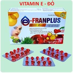 Viên Uống đẹp da Franplus Vitamin E Đỏ 4000mcg Chiết xuất Hạt Nho,1000mcg, Dầu Gấc 30000mcg, Aloe vera 500mg chống lão hóa- Hộp 30 viên