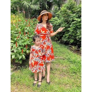 Set đầm mẹ và bé hoa đỏ_Hình chụp thật - Set đầm mẹ và bé hoa đỏ thumbnail