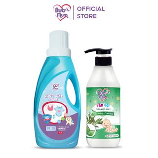 Combo bảo vệ da bé Nước giặt enzym 1 lít và Tắm gội thảo mộc chiết xuất Trầu Không - Tràm Trà 500ml BuB&MuM - AZKids - 3v3-SKU18 thumbnail