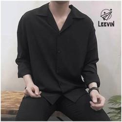 Áo Sơ Mi Nam Nữ Dài Tay Cổ Vest Unisex Trơn Màu Trắng Đen Vải Cotton Lụa Mềm - Kiểu Sơ Mi Nam Tay Dài Leevin Store
