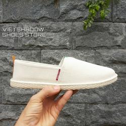 Slip on nam 2019 - Giày lười vải nam đê- khâu mẫu mới - Vải bố 3 màu đen, xám và trắng ngà - Mã 5082