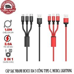 Cáp sạc nhanh Hoco X14 3 cổng Type-C, Micro, Lightning dài 1m - Dành cho tất cả thiết bị