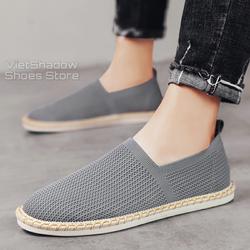 Slip on nam - Giày lười vải nam 2020 - Vải dệt kim 3D, 4 màu (đen), (xám), (xanh) và (trắng) - Mã 2931