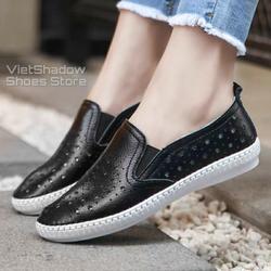 Slip on da nữ - Giày lười da nữ đột lỗ hình ngôi sao đế khâu - Chất liệu bò 2 màu (đen) và (trắng) - Mã SP 2026N