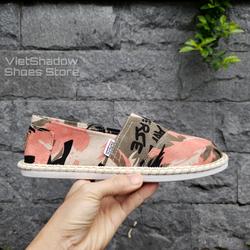 Slip on nam 2020 - Giày lười vải nam cao cấp - Vải thô 3 màu loang xám, vàng và cam - Mã SP 2928 - P/s: mẫu giày này form nhỏ, AE +1 size so với size chân nhé