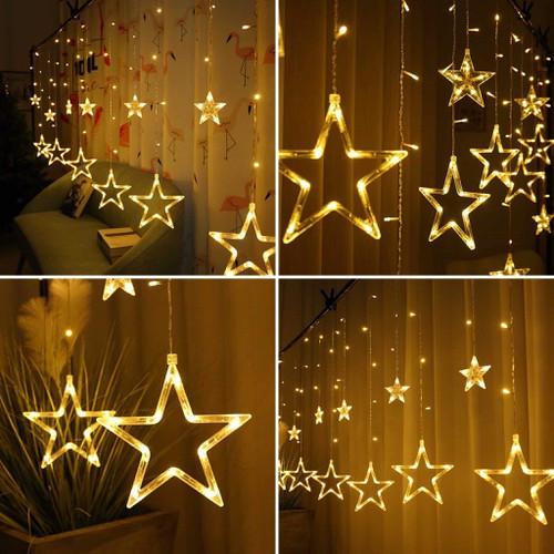 Đèn trang trí hình ngôi sao- Đèn nháy trang trí 5M 12 bóng  trang trí tết ,trang trí Noel