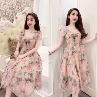 Đầm voan hoa dáng xòe - damnu374 thumbnail