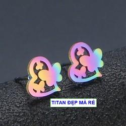 Bông tai trái tim hàn quốc nữ titan xinh lung linh - Hàng titan màu sắc bóng bền đẹp - Cam kết 1 đổi 1 nếu đen và gỉ sét