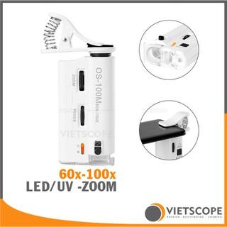 Kính hiển vi mini cao cấp siêu zoom 60x-100x có LED và đèn UV kèm kẹp điện thoại - MS013 thumbnail