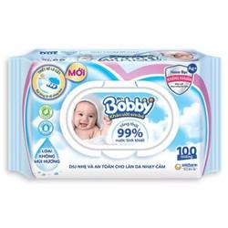Khăn giấy ướt bobby Care Nano bạc kháng khuẩn không mùi 100 tờ date mới