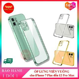 Ốp iphone - Ốp lưng viền vuông, lưng trong giả iphone 12 dành cho iphone 7 plus, 8 plus, x, xs, xs max, 11, 11 pro max, 12, 12 pro max - Ốp lưng silicon iPhone thumbnail