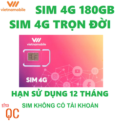 Sim 4G vietnamobile trọn đời 180GB hạn sử dụng 12 tháng không có tài khoản 5k
