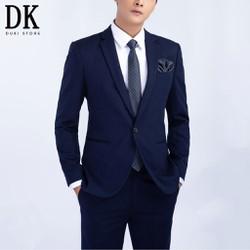 Bộ vest nam công sở 1 cúc đẹp màu xanh than giá siêu rẻ - DUKI STORE