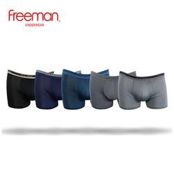 Quần lót nam Freeman, kiểu dáng boxer, chất liệu thun lạnh thoáng mát, thiết kế thun đai lưng nổi bật [Combo 5] BO763