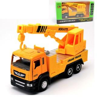 Đồ chơi trẻ em Xe ô tô có cẩu móc mini mô hình tỉ lệ 1 50 xe có âm thanh và đèn cabin bằng sắt chạy bằng cót - a6p49r5p thumbnail