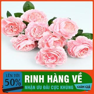 combo 10 cành hoa hồng lụa cao cấp[ cành 2 bông 1 nụ ] - HHL-1 thumbnail
