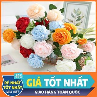 Hoa mẫu đơn cành lớn 3 bông - Hoa Hồng Lụa - Hoa Lụa - Hoa thumbnail