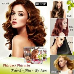 (10 gói màu nâu đỏ ) dầu gội nhuộm tóc phủ bạc usa us hair chỉ 15 phút phủ tóc bạc