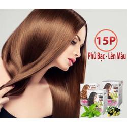 nhuộm màu hạt dẻ phủ tóc bạc tại nhà với dầu gội us hair, chỉ cần gội là lên màu, nhuộm che phủ tóc bạc (hộp 10 gói)
