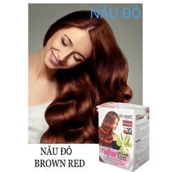 (2 gói màu nâu đỏ) dầu gội nhuộm tóc phủ bạc usa us hair chỉ 15 phút phủ tóc bạc