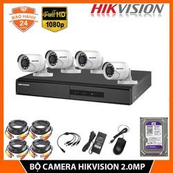 Trọn Bộ Camera giám sát 4 mắt HIKVISION 2.0MP - FHD 1080P - kèm HDD 500GB + đầy đủ phụ kiện lắp đặt - bảo hành 24 Thắng