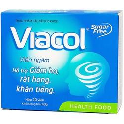 Thực phẩm chức năng khác Kẹo ngậm không đường Viacol giảm đau rát họng hộp 20viên