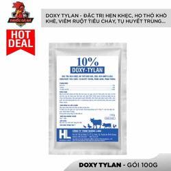 DOXY-TYLAN 10% Hen khẹc, ho thở khò khè, CRD, hen ghép E,coli, Viêm ruột tiêu chảy, tụ huyết trùng, phân xanh- trắng...