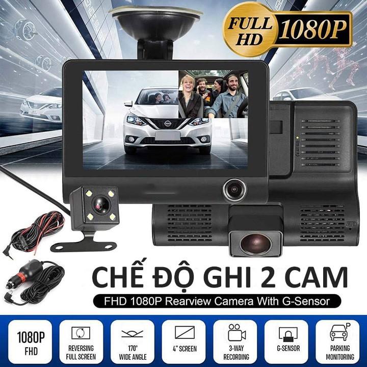 Bộ Camera hành trình Ô TÔ 3 Camera Full HD 1080P On-Tek T003, màn hình 4 inh full HD, ghi hình đa chiều, Chế độ ghi đè tự động
