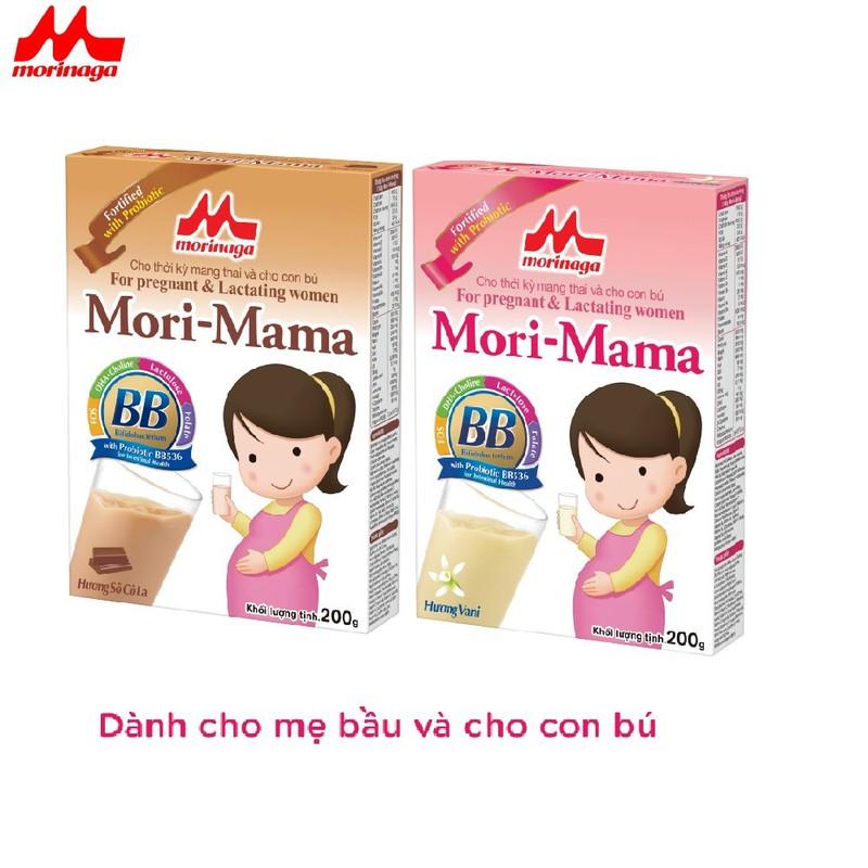 Combo 2 hộp Sữa bầu Morinaga dành cho phụ nữ thời kỳ mang thai và cho con bú Mori Mama - khác vị 200gr - cb2-morimama-2vi 1