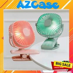 Quạt Sạc Mini Xoay Góc 720 Độ  Đế Kẹp Đa Năng Hoặc Đặt Bàn Với 3 Cấp Độ Gió Có Đèn Led