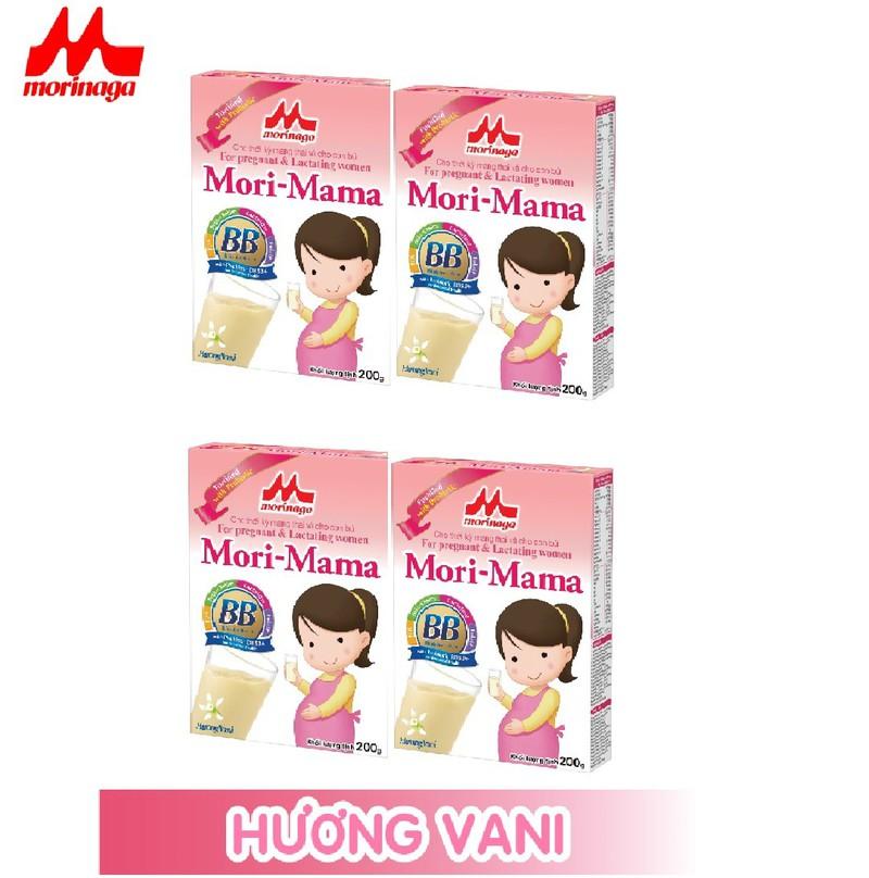 Combo 4 hộp Sữa bầu Morinaga dành cho phụ nữ thời kỳ mang thai và cho con bú Mori Mama - hương vani 200gr - cb4-morimama-vani 1