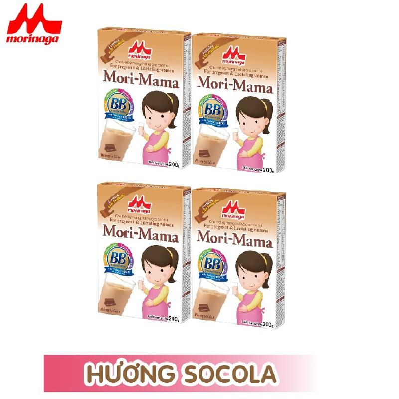Combo 4 hộp Sữa bầu Morinaga dành cho phụ nữ thời kỳ mang thai và cho con bú Mori Mama - hương vani 200gr - cb4-morimama-vani 2