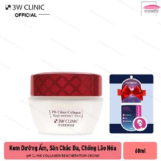 Kem dưỡng trắng da, cải thiện sắc tố da, cải thiện nếp nhăn và chống lão hóa 3W Clinic Collagen Regeneration Cream 60ml + Tặng kèm 1 mặt nạ Foodaholic ( loại ngẫu nhiên) - iqo-SKU33 thumbnail