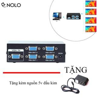 Hub Chia Cổng VGA Từ 1 Máy Tính Ra 4 Màn Hình Chiếu Máy Model VGA2004 Chất Liệu Vỏ Hợp Kim Dùng Nguồn 5V Tặng Kèm - hubchiacongvgatu1ra4 thumbnail
