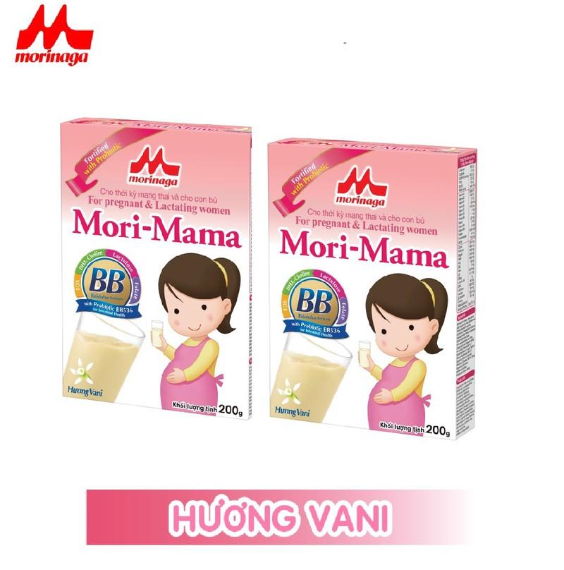 Combo 2 hộp Sữa bầu Morinaga dành cho phụ nữ thời kỳ mang thai và cho con bú Mori Mama - khác vị 200gr - cb2-morimama-2vi 2