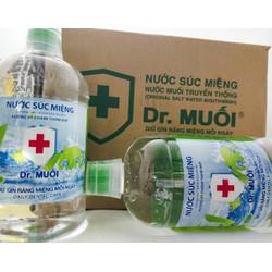 Nước Súc Miệng Dr. Muối Hương Vỏ Chanh được làm từ 100% muối biển tự nhiên (thùng 9 chai 1 lít) + Tặng 9 gói cafe Muối trí giá 38k - DRMUO013